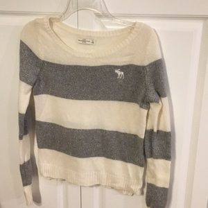 Abercrombie and Fitch grey/white striped sweater